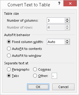 Word - Convert Text to Table Options