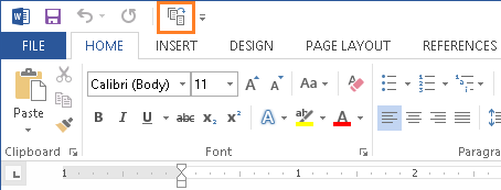 Microsoft Word - Quick Access Toolbar - Shrink One Page Button