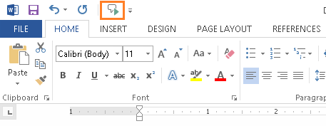 Microsoft Word - Quick Access Toolbar - Speak Button