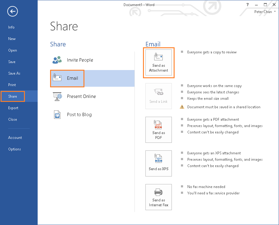 Microsoft Word - Share - Email as Attachment