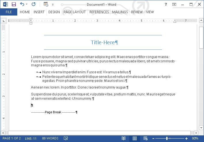 Microsof Word - Formatting Marks Example