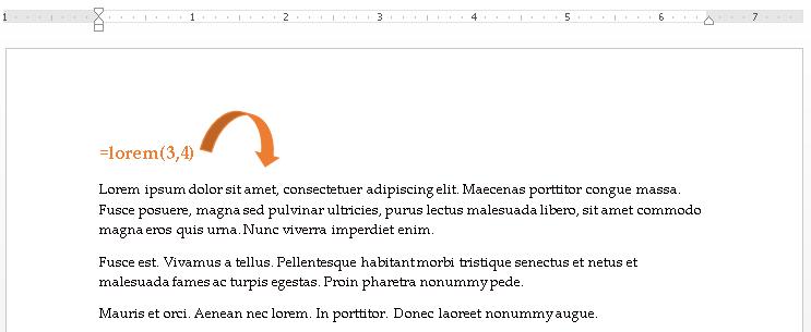 Word =lorem(paragraphs,sentences) example