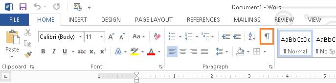 Microsoft Word - Show/Hide Formatting Marks Button